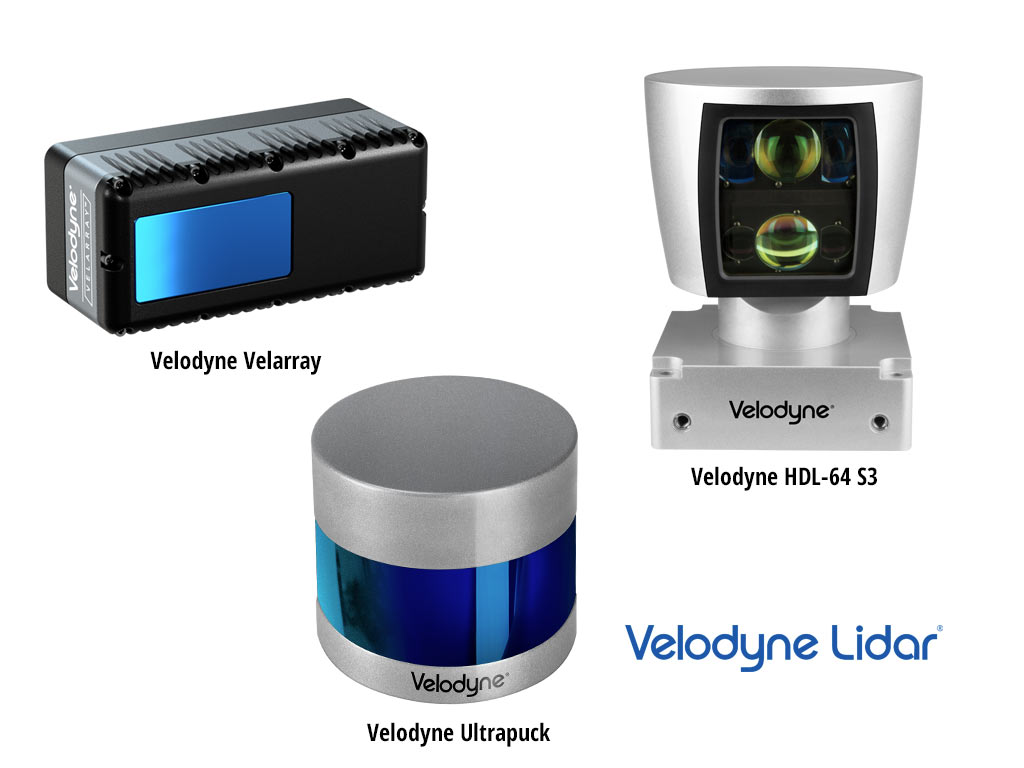 image of the three velodyne products: Velarray, Ultrapuck, HDL64 S3