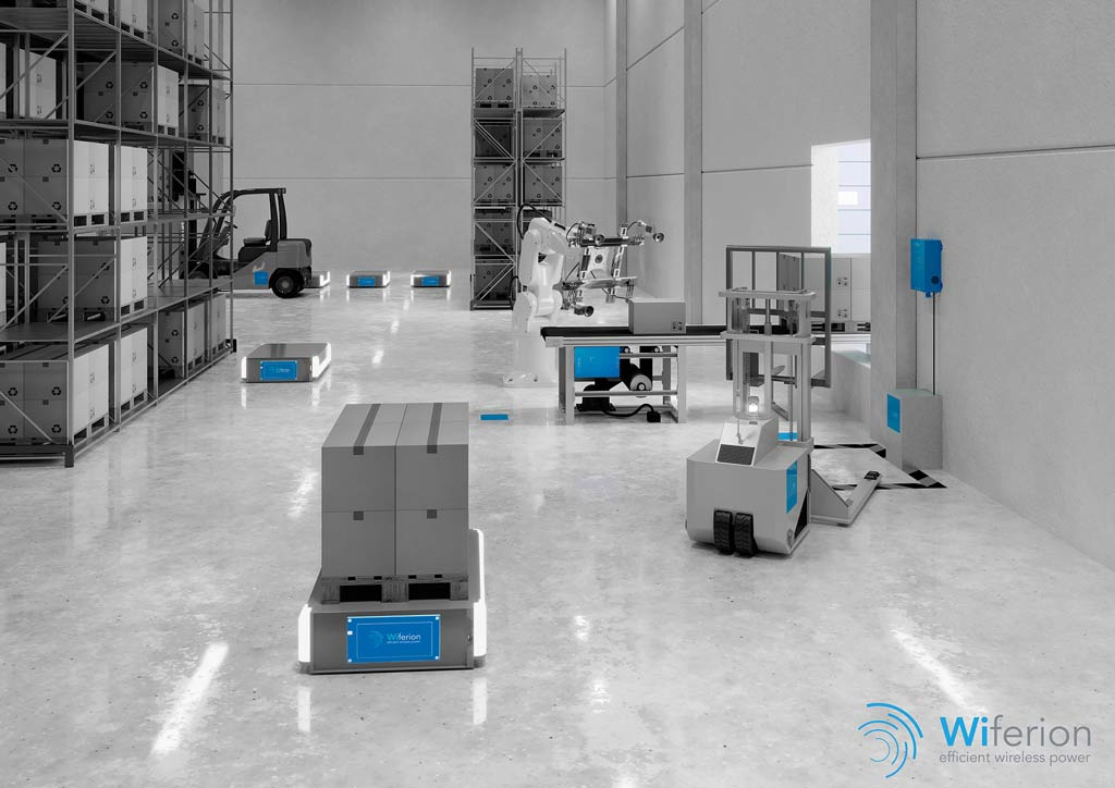 Warehouse with different AMRs and a single Wiferion charging station