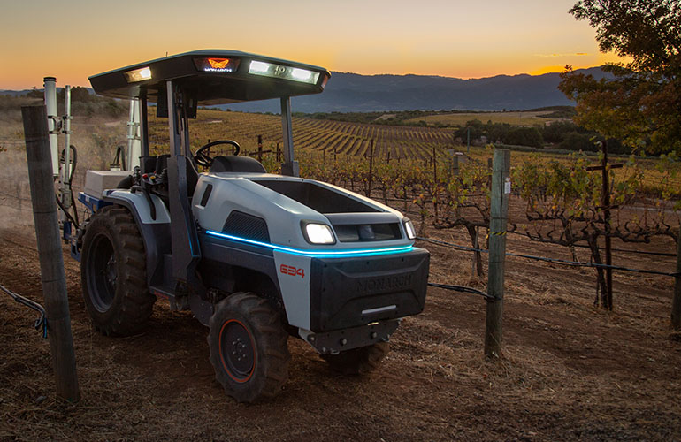 Monarch Tractor works in a vineyard