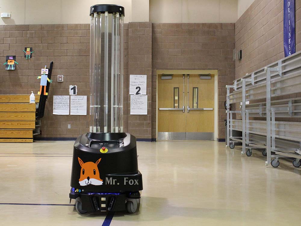 Mr Fox is the name given to the robots by the students of Twin Lakes School.